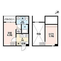pavillon honnte biwaji 1階1Kの間取り