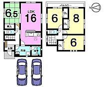 全居室6帖以上、2室から出入りできる南向きバルコニーが自慢のおうちです。並列で2台分の駐車スペースを確保しました。