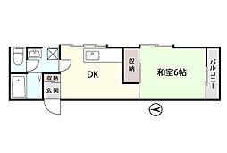 ラ・ネージュ上田II 2階1DKの間取り