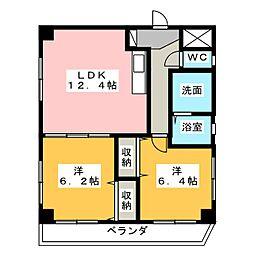 愛知県名古屋市天白区平針台1の賃貸マンションの間取り