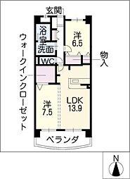 中日マンション上飯田[2階]の間取り