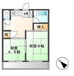 神奈川県川崎市宮前区平1丁目の賃貸アパートの間取り