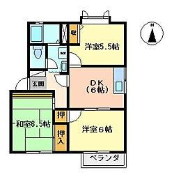 ドミール鍋島B[201号室]の間取り