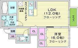ロワール3 1階1LDKの間取り