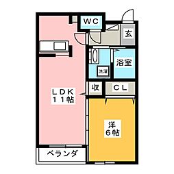 クレメントR[2階]の間取り