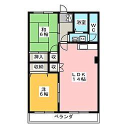 マンションケストB[4階]の間取り