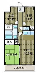 神奈川県相模原市南区上鶴間本町1丁目の賃貸マンションの間取り