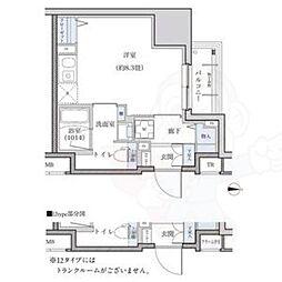 名古屋市営東山線 新栄町駅 徒歩9分の賃貸マンション 14階ワンルームの間取り