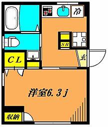 東急目黒線 武蔵小山駅 徒歩8分の賃貸マンション 1階1Kの間取り