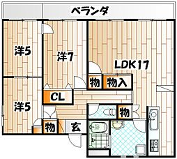 福岡県北九州市戸畑区金比羅町の賃貸マンションの間取り