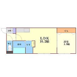 JR千歳線 北広島駅 徒歩16分の賃貸アパート 2階1LDKの間取り