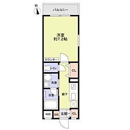 京王井の頭線 下北沢駅 徒歩12分の賃貸マンション 3階1Kの間取り