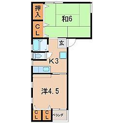 1257タウン稲荷田1[2階]の間取り