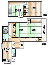 [一戸建] 福岡県北九州市小倉北区中井1丁目 の賃貸【/】の間取り