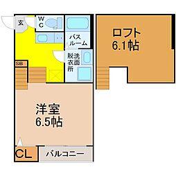 愛知県名古屋市中村区靖国町2丁目の賃貸アパートの間取り