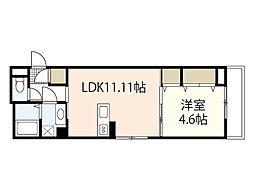 広島電鉄6系統 舟入川口町駅 徒歩5分の賃貸アパート 2階1LDKの間取り
