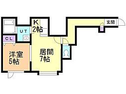 グランエステート菊水元町 1階1LDKの間取り