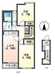 ELLE CITY OLIVIA[2階]の間取り