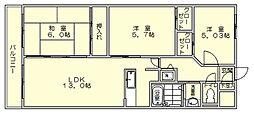 コートタウン駅南[7階]の間取り