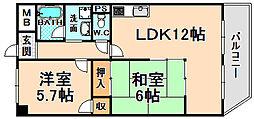 兵庫県伊丹市北伊丹3丁目の賃貸マンションの間取り