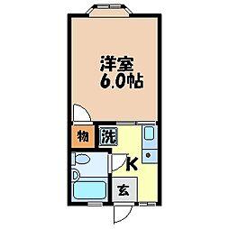 キャスティール栄田 1階1Kの間取り