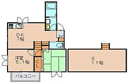 福岡県福岡市博多区浦田1丁目の賃貸アパートの間取り
