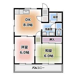 レインボー桜井 B棟[202号室]の間取り
