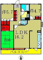 エスポワール八柱[105号室]の間取り