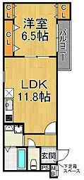フジパレス尼崎ガーデン 1階1LDKの間取り