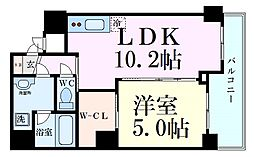 阪急千里線 天神橋筋六丁目駅 徒歩6分の賃貸マンション 11階1LDKの間取り