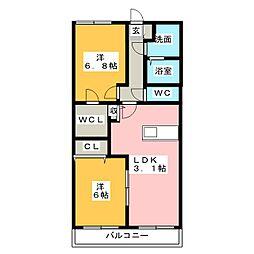 ベルフラワー参番館[3階]の間取り