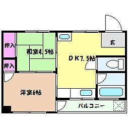 兵庫県神戸市東灘区御影塚町3丁目の賃貸マンションの間取り