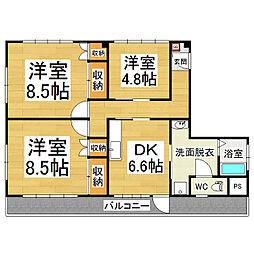 レッドウイングマンション[3階]の間取り