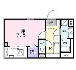 東京メトロ丸ノ内線 中野新橋駅 徒歩15分の賃貸マンション 4階1Kの間取り