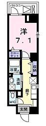 西武新宿線 東村山駅 徒歩3分の賃貸マンション 4階1Kの間取り
