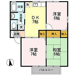 ロイヤルガーデン横尾D[2階]の間取り