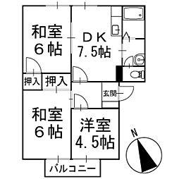 フレグランステシマA棟 2階[202号室]の間取り