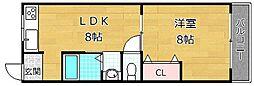 シャンテー香里ヶ丘III[2階]の間取り
