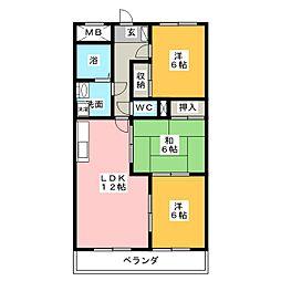 愛知県名古屋市西区清里町の賃貸マンションの間取り