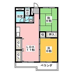 東仙台ガーデンハイツ[3階]の間取り