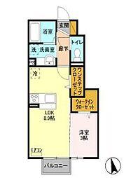 栃木県宇都宮市江曽島2丁目の賃貸アパートの間取り