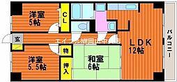 岡山県岡山市中区桑野丁目なしの賃貸マンションの間取り
