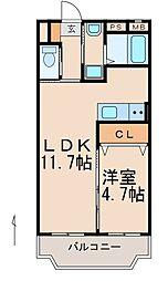 JR紀勢本線 紀和駅 徒歩8分の賃貸マンション 2階1LDKの間取り
