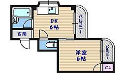 大阪府大阪市東成区中本2丁目の賃貸マンションの間取り