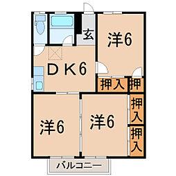 福島県福島市宮代字田尻の賃貸アパートの間取り
