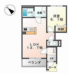 栃木県下都賀郡壬生町本丸2丁目の賃貸アパートの間取り
