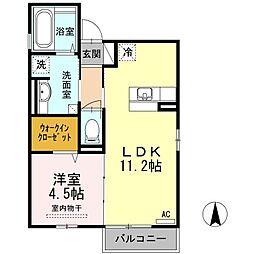 広島県福山市桜馬場町の賃貸アパートの間取り
