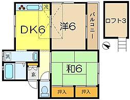 神奈川県横浜市港南区港南台2丁目の賃貸アパートの間取り
