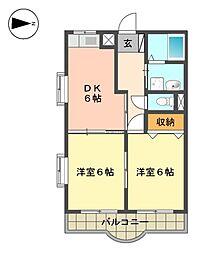 愛知県名古屋市名東区猪子石原1丁目の賃貸マンションの間取り