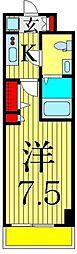京成本線 お花茶屋駅 徒歩9分の賃貸マンション 9階1Kの間取り